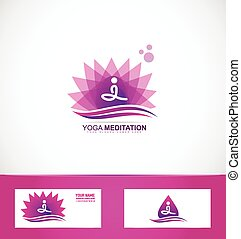 Yoga meditation lotus flower logo