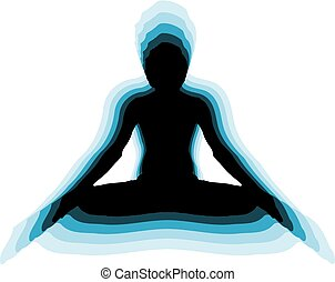 Yoga Meditation Pose black on blue background logo plain clear vector