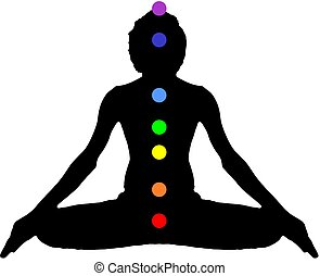 Yoga Meditation Pose black on white background with energy chakra logo plain clear vector