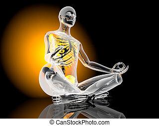 Yoga Meditation pose - The padmasana - Lotus seat - pose. 3D...