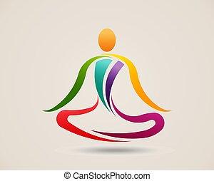 Yoga Meditation Pose. Logo Vector Design Illustration