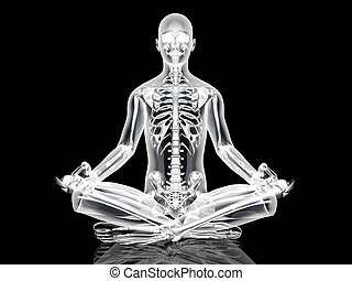 Yoga Meditation pose - The padmasana - Lotus seat - pose. 3D...