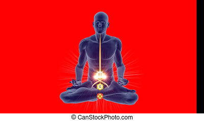 4K Alpha with a Yoga silhouette in an enlightened meditation pose with spirals coiling along the spine highlighting the Hindu Chakras