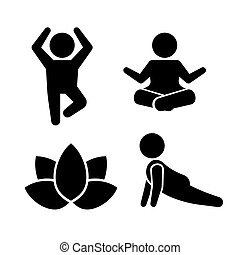 Yoga Meditation Poses Icons Set. Vector