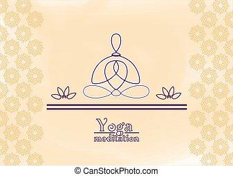 yoga meditation - Poster lotus position, ornamental motive...