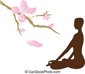 Yoga Meditation - Silhouette - yoga/relaxation/meditation,...