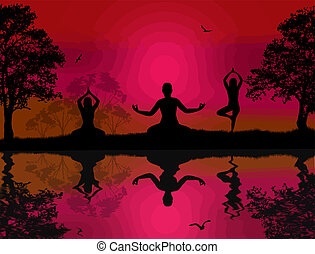 Yoga meditation silhouettes at red sunset landscape near...