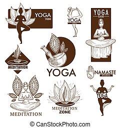 Yoga meditation studio vector icons - Yoga studio logo...