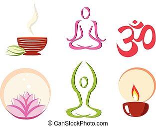 yoga, meditazione, concetto, set, icone