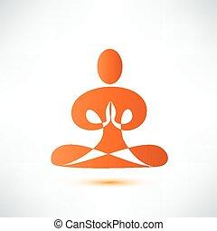 yoga, meditazione, vettore, simbolo