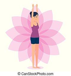 yoga, meisje, pose, ontwerp