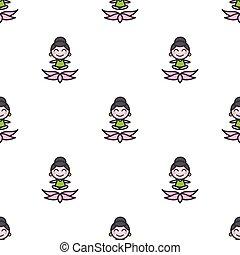 yoga, model, het peinzen, seamless, vector, meisje, spotprent