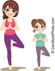 Yoga Mom Daughter - Mom and daughter smiling doing yoga tree...