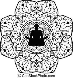 yoga, monochrome, mandala, art, symbole