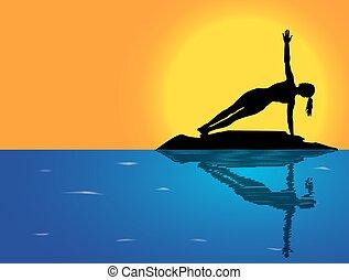 yoga, morze, poza, bok, tło, deska