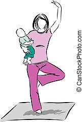 yoga mother with baby illustration