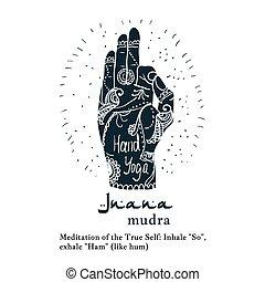 yoga, mudra, mehendi, elemento, patrones, jnana, manos