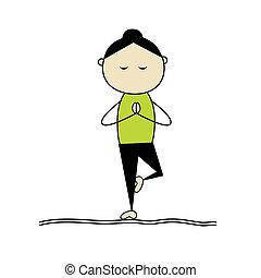 yoga, mujer, postura, practicar, árbol