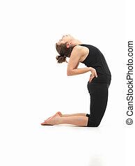 yoga, mujer, postura