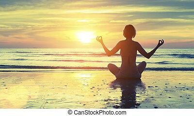 yoga, mujer, silueta
