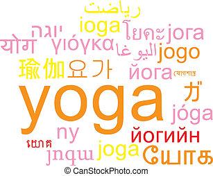 Yoga multilanguage wordcloud background concept