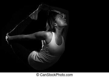 Yoga Natarajasana Variation Dancer Pose Greyscale