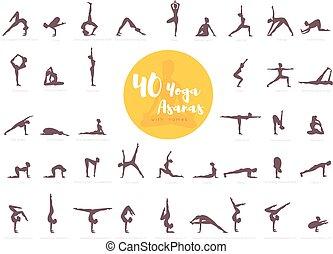 yoga, noms, 40, asanas