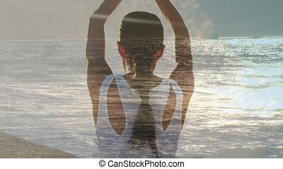 yoga, océan, à côté de, femme