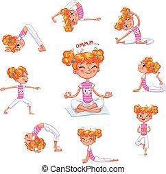 yoga, occupato, exercises., ragazza, fisico, capretto