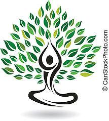 yoga, odpoczynek, poza, drzewo, logo, wektor