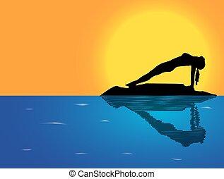 yoga, odwrotny, poza, tło, morze, deska