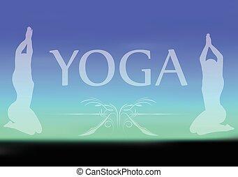 Yoga on blurred background