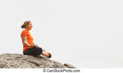 yoga on rock with white background
