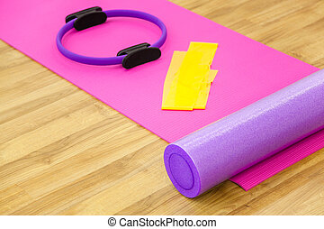 Yoga or fitness, aerobic accessories.