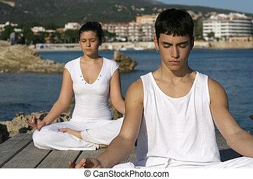yoga or meditation class outdoors