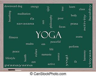 yoga, ord, moln, begrepp, på, a, blackboard