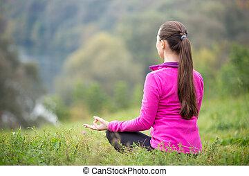 Yoga outdoors: Easy pose
