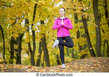 Yoga outdoors: Tree Pose