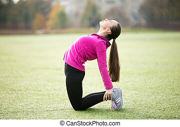 Yoga outdoors: Ushtrasana pose