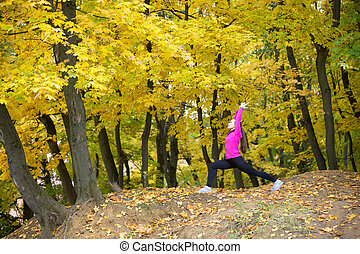 Yoga outdoors: Warrior 1 posture