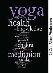 yoga., palabra, nube, concepto, illustration.