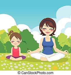 yoga, park, moeder, dochter