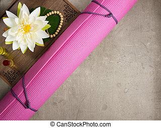 yoga, perles, arôme, plateau, parfumé, natte, yoga, remplir