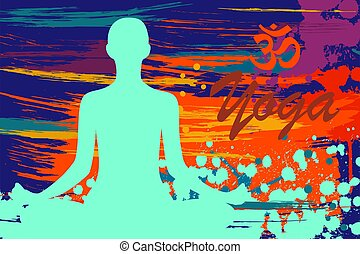 hand drawing yoga person sitting in a lotus pose rainbow