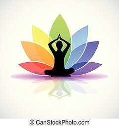 yoga person sitting in a lotus pose rainbow colors