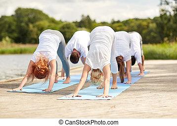 yoga, persone, atteggiarsi, cane, gruppo, fuori, ...