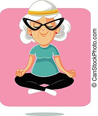 yoga, personne agee, lotus pose, grand-maman, heureux