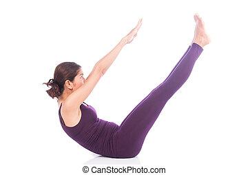 yoga, piękno, formułować, v, ruch, kobiety