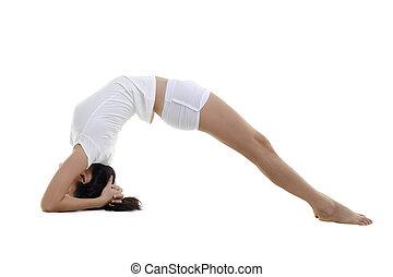 Yoga - Woman in yoga, Inverted Staff Posture (Dvi Pada...