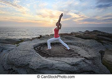 yoga, pilates, idoneità, estensione, basso, affondo